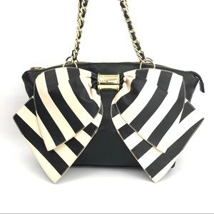 Betsey Johnson Black & White Bow Tie Tote Bag